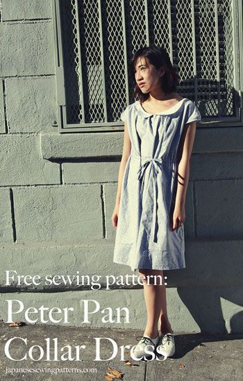 Free peter pan collar floral dress sewing pattern and tutorial at www.japanesesewingpatterns.com