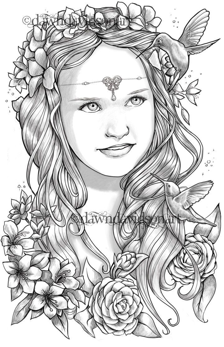 Princess Ember Hummingbirds Adult Coloring Pages