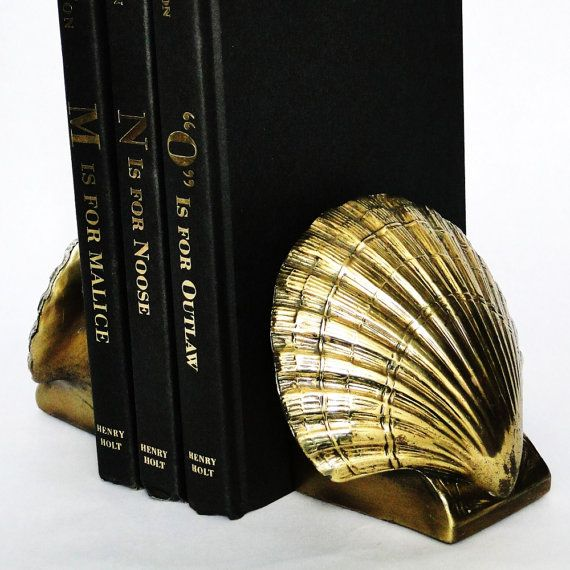 Vintage PM Craftsman Bookends Clam Shell Solid by BelatedDesigns, $55.00
