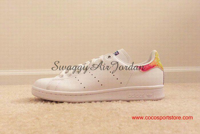 Cute Adidas Originals Stan Smith White Rainbow vivid colors Girls Shoes