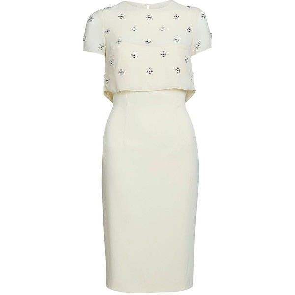 Gina Bacconi Moss crepe dress with diamante sequin (£210) ❤ liked on Polyvore featuring dresses, vestidos, clearance, yellow, knee length cocktail dresses, knee length summer dresses, yellow cocktail dress, sparkly cocktail dresses and yellow summer dress