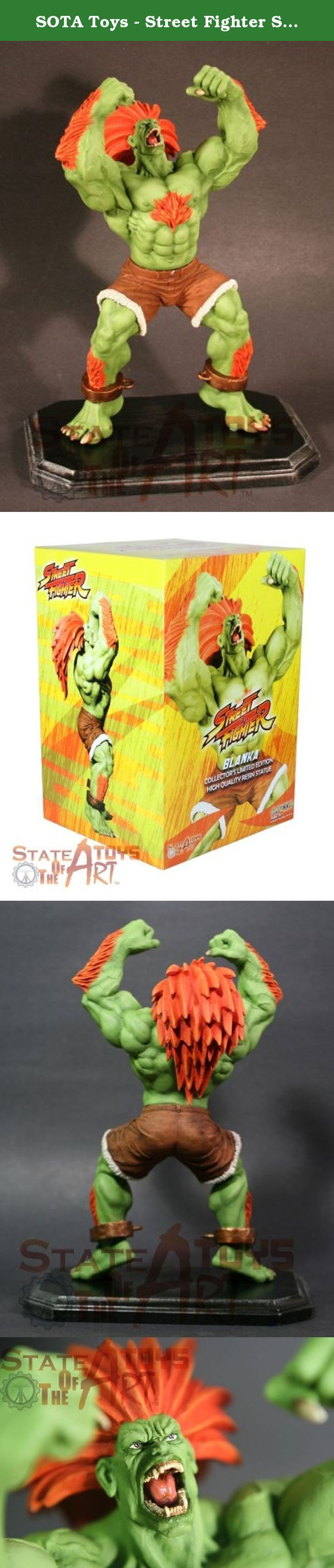 SOTA Toys - Street Fighter Statue Blanka 30 cm. SOTA is thrilled to announce the next statue in it's ongoing Street Fighter resin line: BLANKA! This statue stands approximately twelve inches tall, sports a detailed sculpt and an insane amount of detail! Sculpted by famed SOTA sculptor Alexi 'Trapjaw' Bustamante this figure is limited to 500 pieces world wide! Get yours while you can.