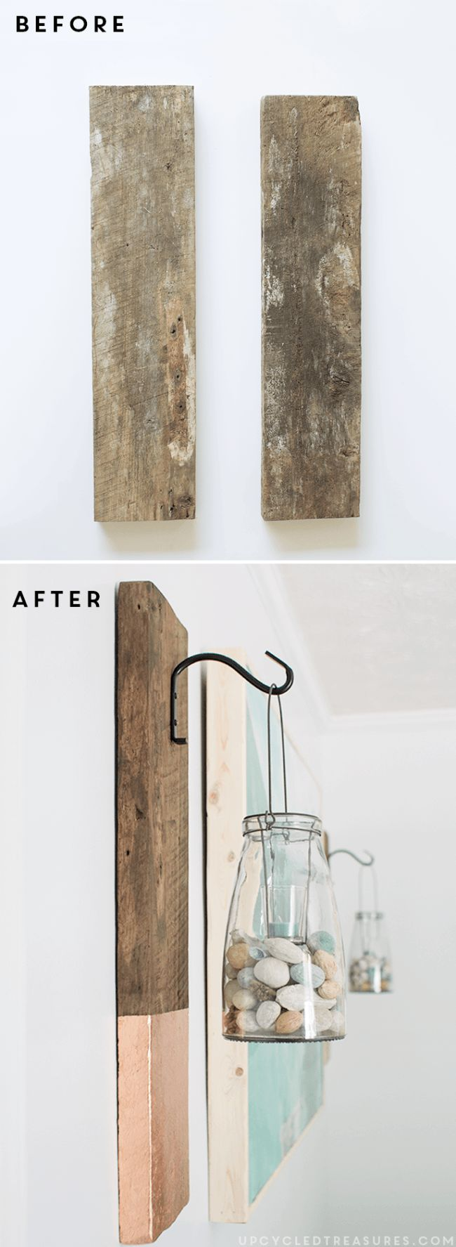 See how easy it is to create this vertical DIY Modern Rustic Wall Hanging from salvaged wood | upcycledtreasures.com