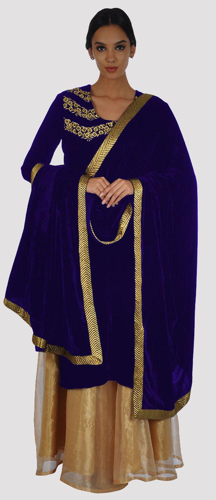 Electric Blue Silk-Velvet Zari Kurta With Gold Pure Tissue Skirt And Dupatta
