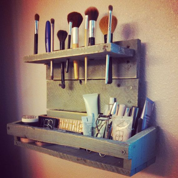 Reclaimed Wood Two Tiered Make Up Organizer by OverthePaintedFence