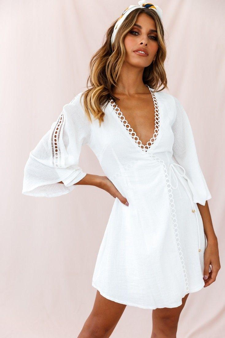 Jadee Bell Sleeve Wrap Dress White Dresses Wrap Dress White Dress [ 1100 x 733 Pixel ]
