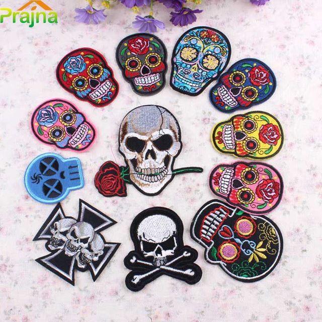 1 STKS Punk Schedel Patch Rock Iron Op Tijger Vlag Patch Applique Badges Goedkope Geborduurde Biker Patches Voor Kleding Stickers Jeans