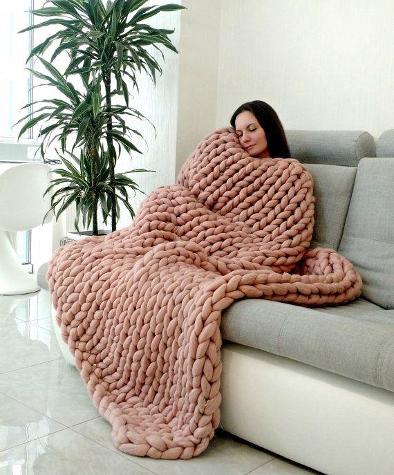 Large Super Chunky Blanket  Merino Wool  Wool от WowKnitAndCo