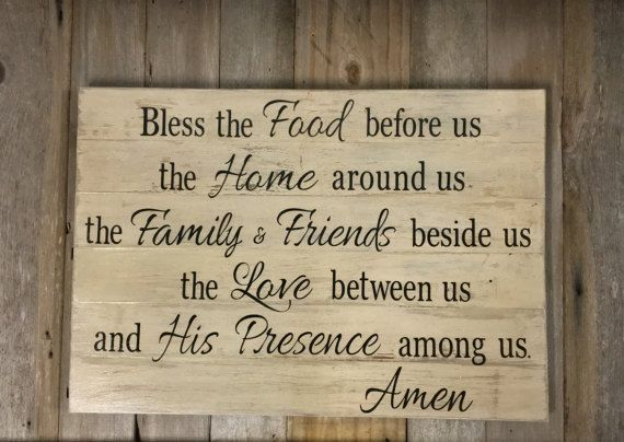 Bless the Food before us Wood Sign Inspirational by LowerArkCrafts