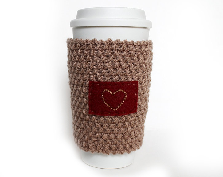 Free Knitting Pattern Coffee Cup Sleeve : Knitted Coffee Cup Cozy Sleeve Orange with heart Coffee, Orange and Coffee ...
