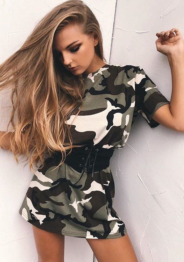 #spring #outfits  Army Print 'King Kylie' Dress + Black Laced Up Corset