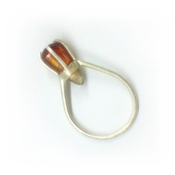 Citrine ring. Sterling silver Ring with Semi precious stone Citrine drop cut. Spring Trends