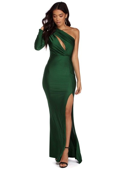 8622d001f86 Dress features one shoulder neckline, a single fitted long sleeve and a  slim fit bodice with an asymmetrical keyhole across the bodice with light  ruching