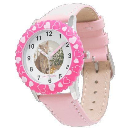 GIRLS PHOTO Watch Named PINK HEARTS Trendy - accessories accessory gift idea stylish unique custom