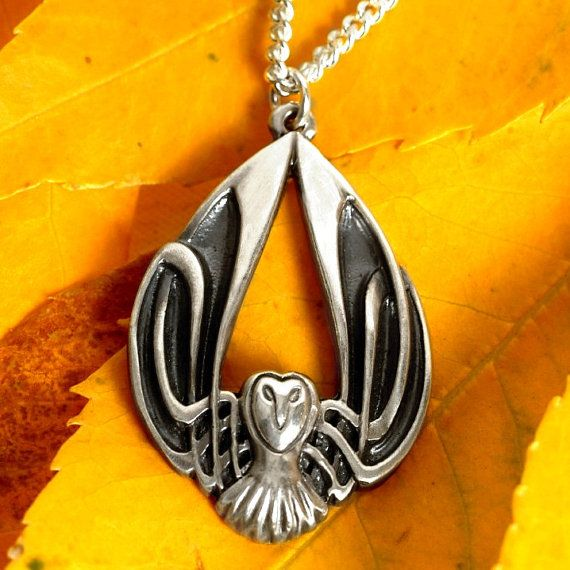 Silver Owl Necklace Celtic Owl Pendant Sterling by CelticEternity