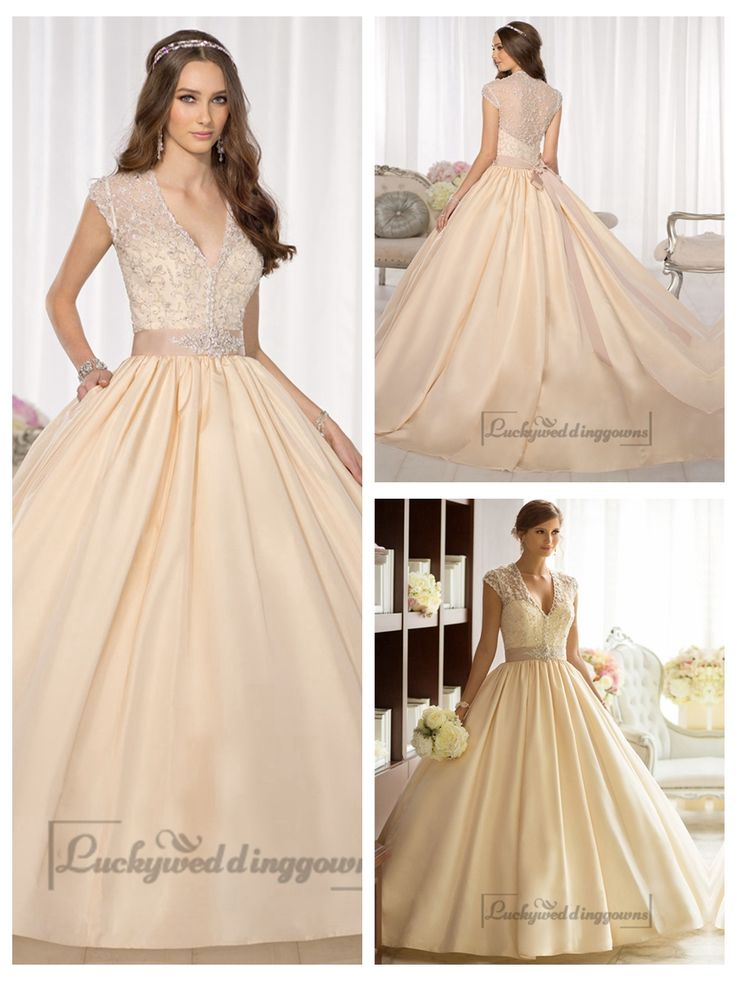 Elegant Cap Sleeves V-neck Princess Ball Gown Wedding Dresses with   Beaded Illusion Jacket http://www.ckdress.com/elegant-cap-sleeves-vneck-princess-ball-gown-  wedding-dresses-with-beaded-illusion-jacket-p-1996.html  #wedding #dresses #dress #Luckyweddinggown #Luckywedding #wed #clothing   #gown #weddingdresses #dressesonline #dressonline #bridaldresses