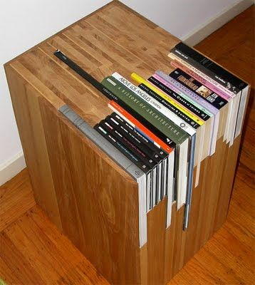 Provide the dimensions of your favorite stack of books to San Francisco-based furniture maker, Jane Dandy, and she'll create a wooden side table that perfectly encases them!