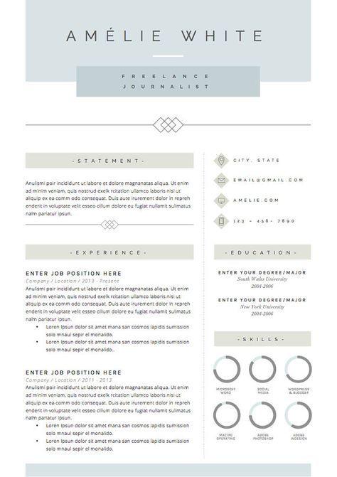 Reprendre Le Gabarit 3pk Modele De Cv Par Theresumeboutique Resume Template Cv Template Resume Design