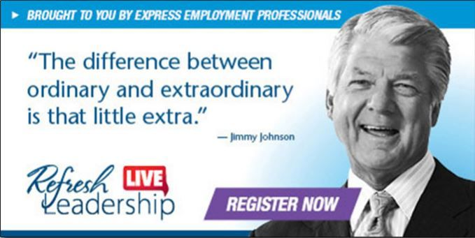 Refresh Leadership Live Simulcast is TWO WEEKS AWAY! Teams That Win Fundamentals for Success, Featuring Jimmy Johnson Two-Time Super Bowl Champion Coach and FOX NFL Sunday Analyst #RefreshLeadership #Express #Employment #Jobs #Professionals #ThousandOaks #WestlakeVillage #SimiValley #Moorpark #NewburyPark #Ventura #Camarillo #Oxnard #VenturaCounty #Seminar #Leadership
