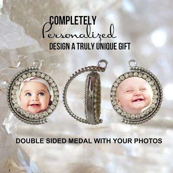 Your Own Photos  Custom Double Side Medal  Picture Necklace