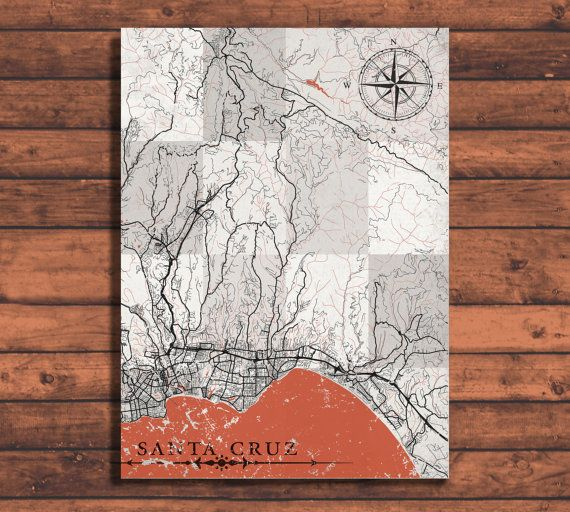 SANTA CRUZ California Vintage map Santa Cruz City map California Vintage Wall Art Print poster retro old antique Santa Cruz United States