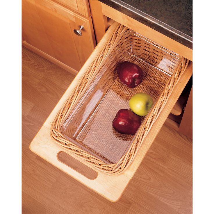 Shop Rev-A-Shelf 11.25-in W x 21.25-in D x 7.38-in H 1-Tier Wood Pull Out Cabinet Basket at Lowes.com