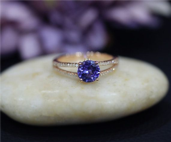 Tanzanite Engagement Ring 7mm Round Natural Tanzanite Wedding Ring Solid 14K Rose Gold Ring Promise Ring Anniversary Ring Bridal Ring