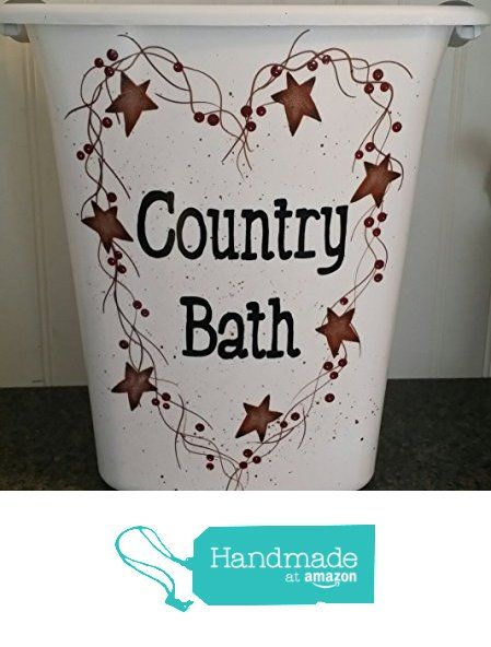 Country Bath Rusty Tin Stars Pip Berry Vine Bathroom Trash Can from Primitive Country Loft House https://www.amazon.com/dp/B019AIYC7E/ref=hnd_sw_r_pi_awdo_3oepyb5HZY8N4 #handmadeatamazon