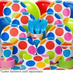 This Polka Dot Birthday hits the spot! Colorful Polka Dots adorn every Polka Dot plate, invitation and decoration in our Polka Dot Party pattern! And what could be more fun than a Polka Dot theme? With so many coordinating colors, it's easy to match decorations with your Polka Dot Birthday theme! For planning advice, see our Polka Dot Party Ideas!