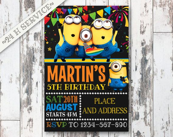 Minions Chalkboard Birthday Invitation Design, Minions Birthday, Minions Invitation, Minions Birthday Chalkboard, Minions Party