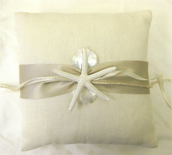 Wedding Ring Bearer Pillow with Starfish and Mother of Pearl for Beach Weddings. $49.00, via Etsy.