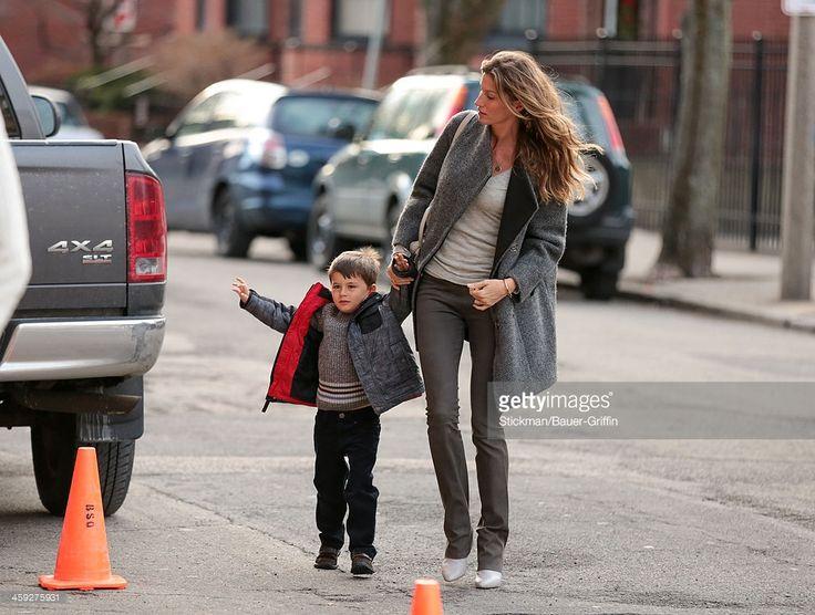 Gisele Bundchen with son, Benjamin Brady are seen on December 24, 2013 in Boston, Massachusetts.