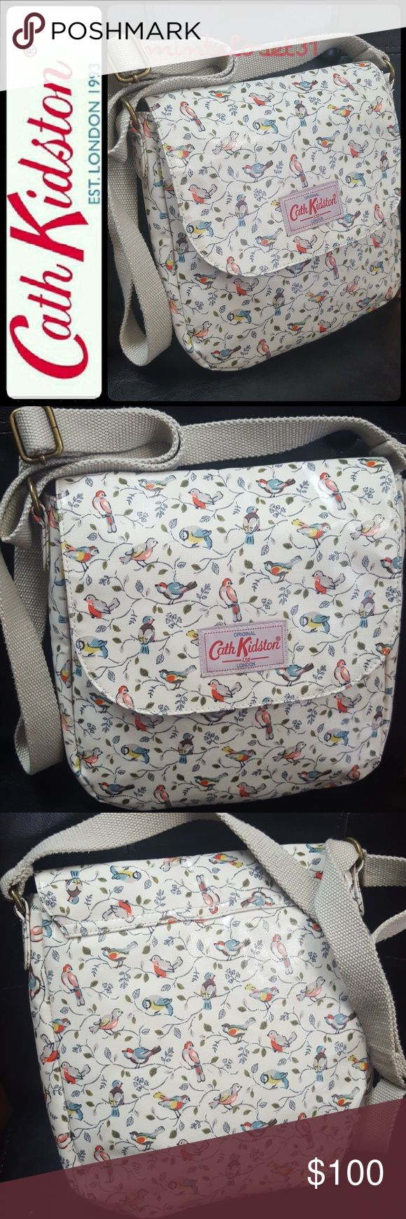 Cath Kidston London Crossbody Bag Cath Kidston London Signature Bag in Its Iconic Crossbody Style with Adorable Birds on Tree Leaves Pattern! Features Adjustable Strap That Drops up To 30 inches!  Front Flap Snap Button Closure Opens to Fully Lined Interior with Zip Pocket! 100% Cotton Interior with Coated Canvas Exterior! Medium Sized in Used Good Condition! Cath Kidston Bags Crossbody Bags