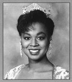 Marjorie Vincent (Illinois) Miss America 1991.    During her year of service, Marjorie's platform was helping with the cause of domestic violence. Marjorie continues to remain committed to her cause, as well as working full-time as a news anchor in Columbus, Ohio.