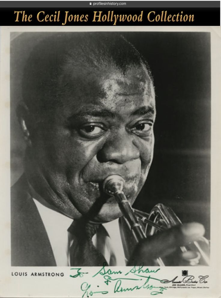 """Louis Armstrong - Signed photograph. (ca. 1950s) Vintage original gelatin silver 8 x 10 in. photograph inscribed and signed, """"To Sam Shaw from Louis Armstrong""""."""