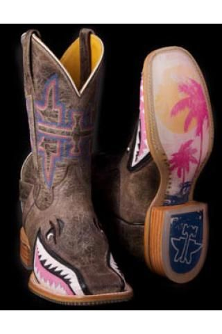 Women's Tan Narly Pink Shark Tin Haul Gals Boot Western Clothing