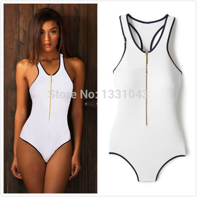 One Piece ZIPPER Swimsuit Beauties | Women's one piece White Colors One Pieces Gold Zipper Front Swimsuit ...