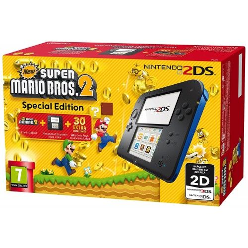Nintendo Handheld 2DS - Black/Blue with New Super Mario Bros 2