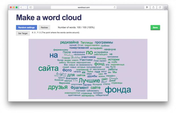 4 services for transformation any text into a cloud ( russian words). Russian article