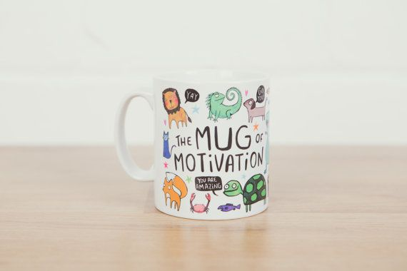 Mugs that let people know your home has personality. Pictured: $10.97 KatieAbeyDesign The Mug of Motivation