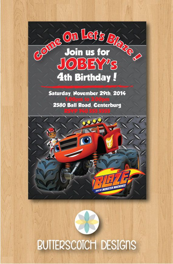 Blaze & The Monster Machines Monster Truck Birthday Invitation