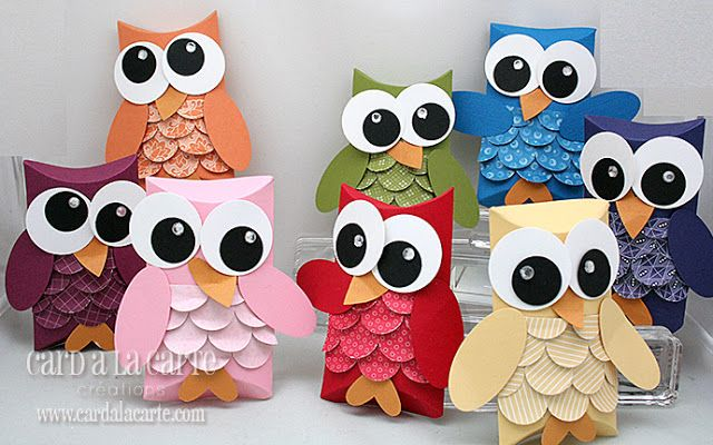 paper crafts for kids: owl pillow boxes - crafts ideas - crafts for kids