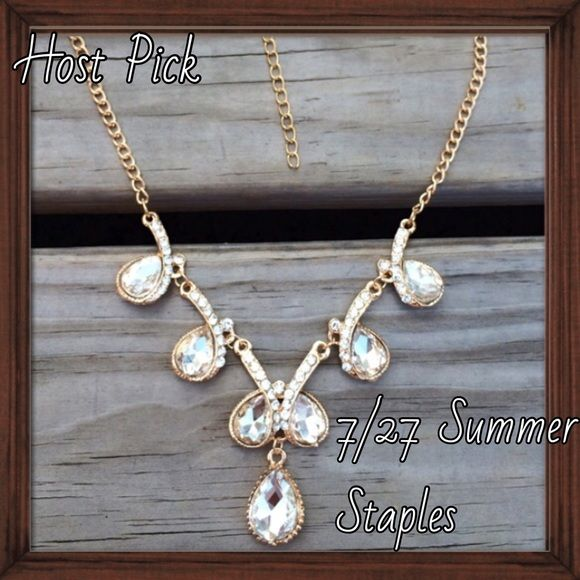 HP: Crystal Statement Necklace Turn heads with this classy piece. Sparkling crystal set in a gold tone adjustable length chain; NWT. 7/27 Summer Staples Host Pick. Jewelry Necklaces
