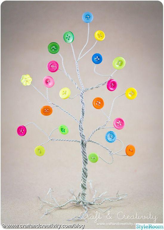 träd,pyssel,ståltråd,knappar,knapp