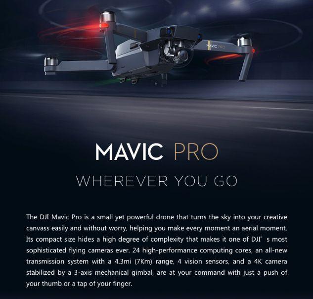 DJI Mavic Pro Drone Bundle w/ Free Carrying case