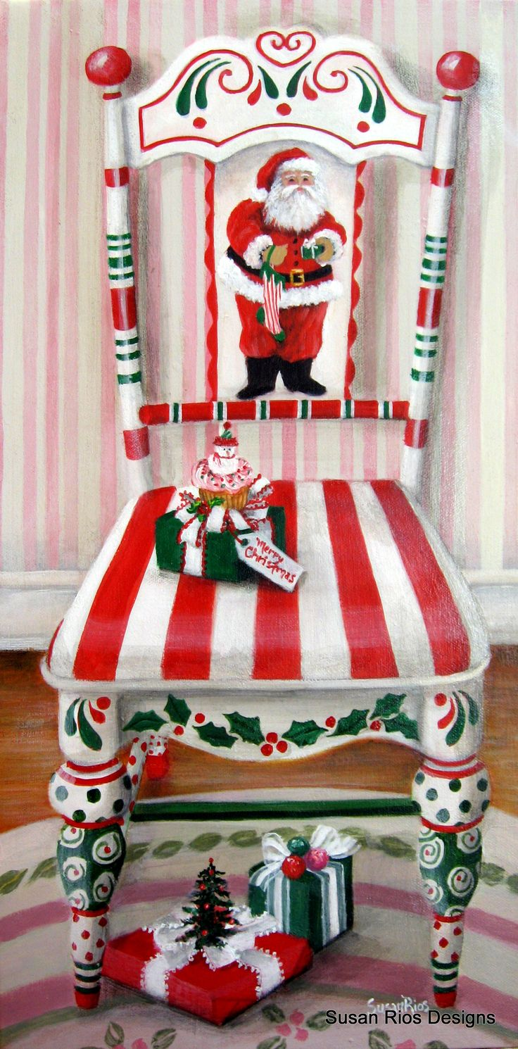 My painting: Santa's Chair - Pick up a chair from Goodwill and paint it for the holiday!