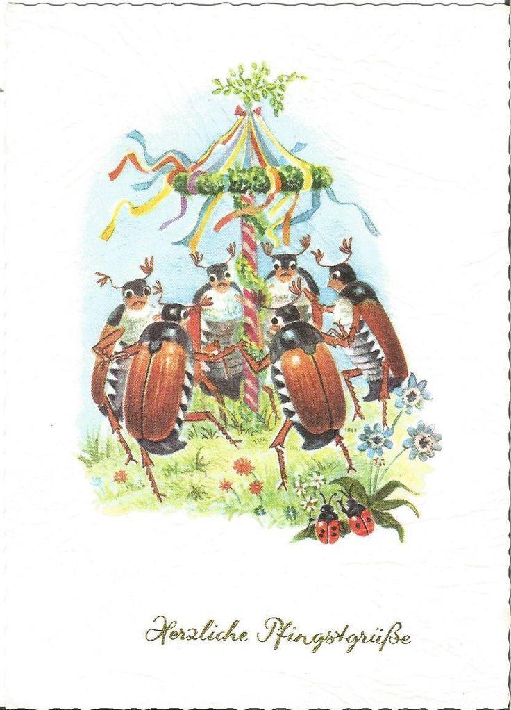 Pfingsten, Maikäfer, Tanz unterm Maibaum, Insekt, Käfer personifiziert | eBay