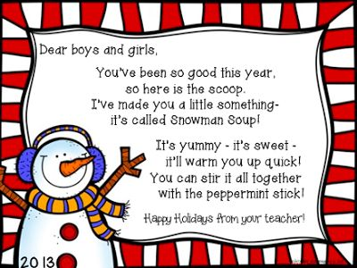 The Balancing Act I Call Life: Holiday Gifts for my Students - Linky! :) - Snowman Soup poem and label FREEBIE