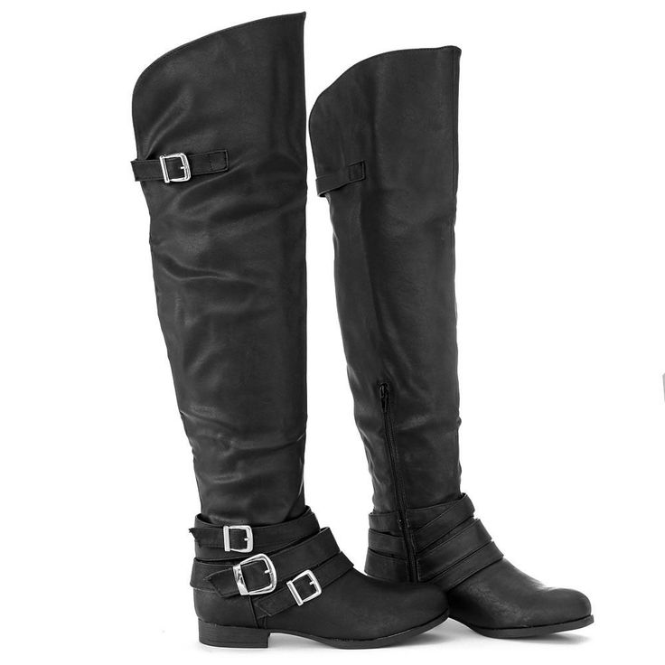 Stylish Silver Buckle Accent Over Knee High Bike Motorcycle Rider Boots Black $30.99 via @shopseen