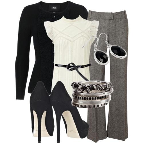 black+white+greyWork Clothing, Woman Fashion, Fashion Ideas, Style, Black White, Heels, Work Outfit, Fashion Offices Outfit, Wear